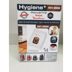 Rowenta ZR200720 Confezione da 4 sacchetti ad alto filtraggio anti-odore Hygiene